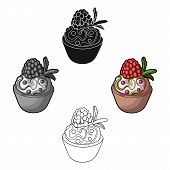 Vegetarian Dessert. For Vegetarians Ice Cream In A Chocolate Cup And Raspberry.vegetarian Dishes Sin poster