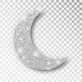 Crescent Islamic For Ramadan Kareem Design Element Isolated. Silver Glitter Moon Vector Icon Of Cres poster
