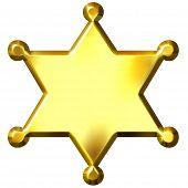 3D Golden Sheriff'S Badge