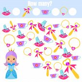 Counting Educational Children Game. Mathematics Kids Activity Sheet. How Many Objects Task, Study Ad poster