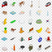 Tourism Icons Set. Isometric Style Of 36 Tourism Vector Icons For Web For Any Design poster