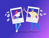 Greeting With A High Five In Social Media Between Two Teenage Accounts. Gradient Vector Illustration poster