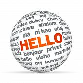 stock photo of dialect  - 3d Sphere with Hello in different languages - JPG