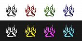 Set Paw Print Icon Isolated On Black And White Background. Dog Or Cat Paw Print. Animal Track. Vecto poster