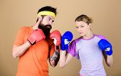 Be Careful. Boxing Sport Concept. Couple Girl And Hipster Practicing Boxing. Sport For Everyone. Ama poster