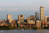 picture of prudential center  - View of the Boston MA Skyline of Back Bay including the landmark Prudential Tower - JPG