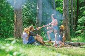 Friends Enjoy Picnic Eat Food Nature Forest Background. Plan For Perfect Day Hike Picnic. Company Fr poster