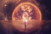 Surreal Space View As A Confident Man Silhouette Stands In Front Of A Huge Mirror Door On An Imagina poster