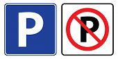 Parking Symbol And No Parking Sign.parking And No Parking Sign Drawing By Illustration poster