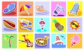 Vacation Colorful Icons Set