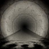 An image of a dark wet sewerage