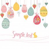 stock photo of easter eggs bunny  - hanging easter eggs and hearts - JPG