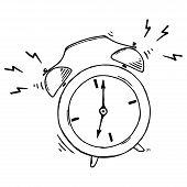 Alarm Clock. Vector Illustration Of Retro Alarm Clock. Hand Drawn Vector Illustration. poster