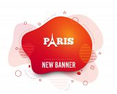 Fluid Badge. Eiffel Tower Icon. Paris Symbol. Abstract Shape. Gradient Paris Icon. Flyer Liquid Bann poster