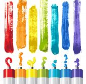 oil paints and strokes in rainbow colors