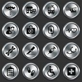 Medical Icons on Metallic Button Collection Original Illustration