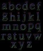 Neon Lowercase Alphabets
