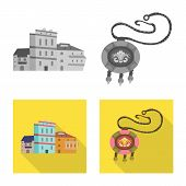 Vector Design Of Culture And Sightseeing Sign. Set Of Culture And Originality Stock Symbol For Web. poster