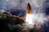 Space Shuttle Taking Off On A Mission. Deep Space. Beauty Of Endless Universe. Elements Of This Imag poster