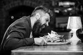 Cheat Meal Concept. Hipster Hungry Eat Pub Fried Food. Manager Formal Suit Sit At Bar Counter. Delic poster
