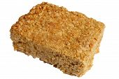 Flapjack Oat Cake Isolated Over White.