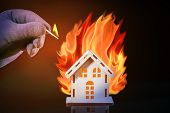 Hand In Glove With A Burning Match Sets Fire To The House Model Of Matches, Risk, Property Insurance poster