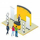 Isometric Expo Stands. Exhibition Demonstration Stand Concept. Exposition Booth. Blank Mockup. poster