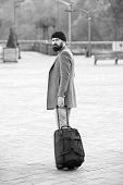 Hipster Ready Enjoy Travel. Carry Travel Bag. Man Bearded Hipster Travel With Luggage Bag On Wheels. poster