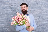 Macho Getting Ready Romantic Date. Waiting For Darling. Tulips For Sweetheart. Man Well Groomed Wear poster