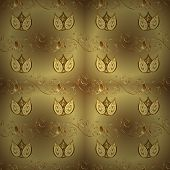 Classic Vintage Background. Seamless Classic Vector Golden Pattern. Traditional Orient Ornament. Sea poster