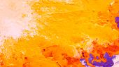 Abstract Yellow Orange Color Background. Acrylic Paint Splash Similar To Sun Rays. Liquid Fluid Smoo poster