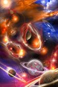 Nebulae And Planets In Space