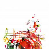Music Background With Colorful Vinyl Record And Music Notes Vector Illustration Design. Artistic Mus poster