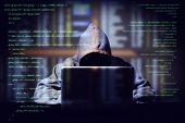 Hacker Working On A Computer Code With Laptop, Double Exposure With Digital Interface Around At Back poster