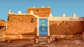 Old Arabic House With Door And Antique Lanterns - Traditional Arab Mud Architecture - Part Of An Old poster