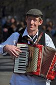 Busker Playing Piano Accordion In New York