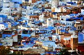 Abstract architectural detail in Chefchaouen, Morocco, Africa