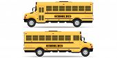 Yellow School Bus Icon Isolated On White Background. Side View School Bus. Back To School Vector Ill poster