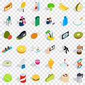 Energetic Icons Set. Isometric Style Of 36 Energetic Vector Icons For Web For Any Design poster