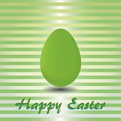 Green Striped Card With Green Easter Egg