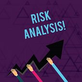 Writing Note Showing Risk Analysis. Business Photo Showcasing Review Of The Risks Associated With A  poster