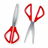 Scissor . 3d Realistic Scissor Icon. Plastic Handles. Opened And Closed. Cut Tool. School, Office St poster