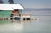 A winter scenery at Starnberg lake in Germany