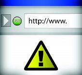 internet browser with yellow warning sign illustration design