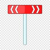 Red Road Sign Direction Pointer Icon. Cartoon Illustration Of Red Road Sign Direction Pointer Vector poster