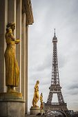 Square Of The Trocadero Square With A View Of The Eiffel Tower In Paris France - Travel Destination poster