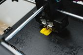 Process Of Printing Physical Plastic Model On Automatic 3d Printer Machine. Additive Technologies, 3 poster