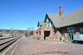 stock photo of amtrak  - The passenger train depot at Flagstaff - JPG