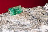 Rare Emerald Raw Precious Gemstone On Matrix Rock