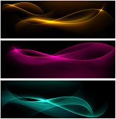 Vector abstract dark banners. Blurry smooth glowing waves. Eps10.